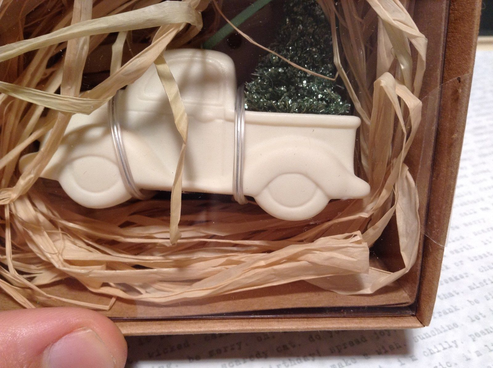 White Enesco Truck from Department 56 with Purple OR Red OR Green Christmas Tree