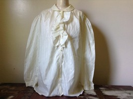 White Fancy Blouse Gold Stripes Erica Jade with Buttons Long Sleeves No Size Tag