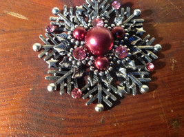 Snowflake with Red Beads and Crystals Scarf Pendant Silver Tone by Magic Scarf image 2