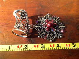 Snowflake with Red Beads and Crystals Scarf Pendant Silver Tone by Magic Scarf image 5