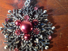 Snowflake with Red Beads and Crystals Scarf Pendant Silver Tone by Magic Scarf image 4