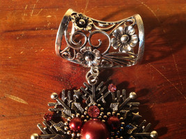 Snowflake with Red Beads and Crystals Scarf Pendant Silver Tone by Magic Scarf image 3