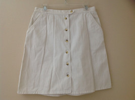White Front Button Up Skirt Knee Length Pockets Cherokee Size 13/14