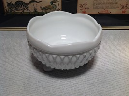 White Glass Hobnail Bowl on Legs Rhombus Pattern Height Three Inches