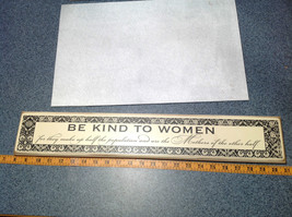 Be Kind to Women Vintage Look White Wall Sign Black Letters on White Background image 2