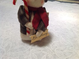 Be Merry Christmas Snowman Ornament Holding Candy Cane image 3