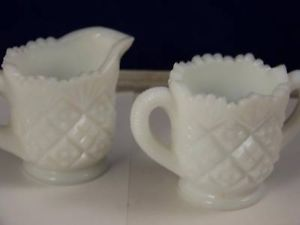 Westmoreland white Milk glass creamer sugar jar