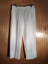 White Alfred Dunner Size 16 Casual Pants with Elastic Waist