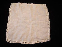 White Antique Hankerchief with hand crocheted border