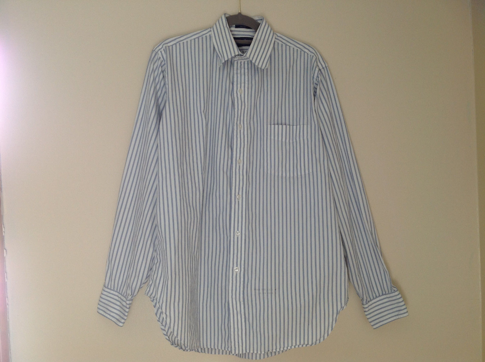 White Blue Striped Button Up Shirt Pocket on Chest Buttons at Cuffs Size 15-5