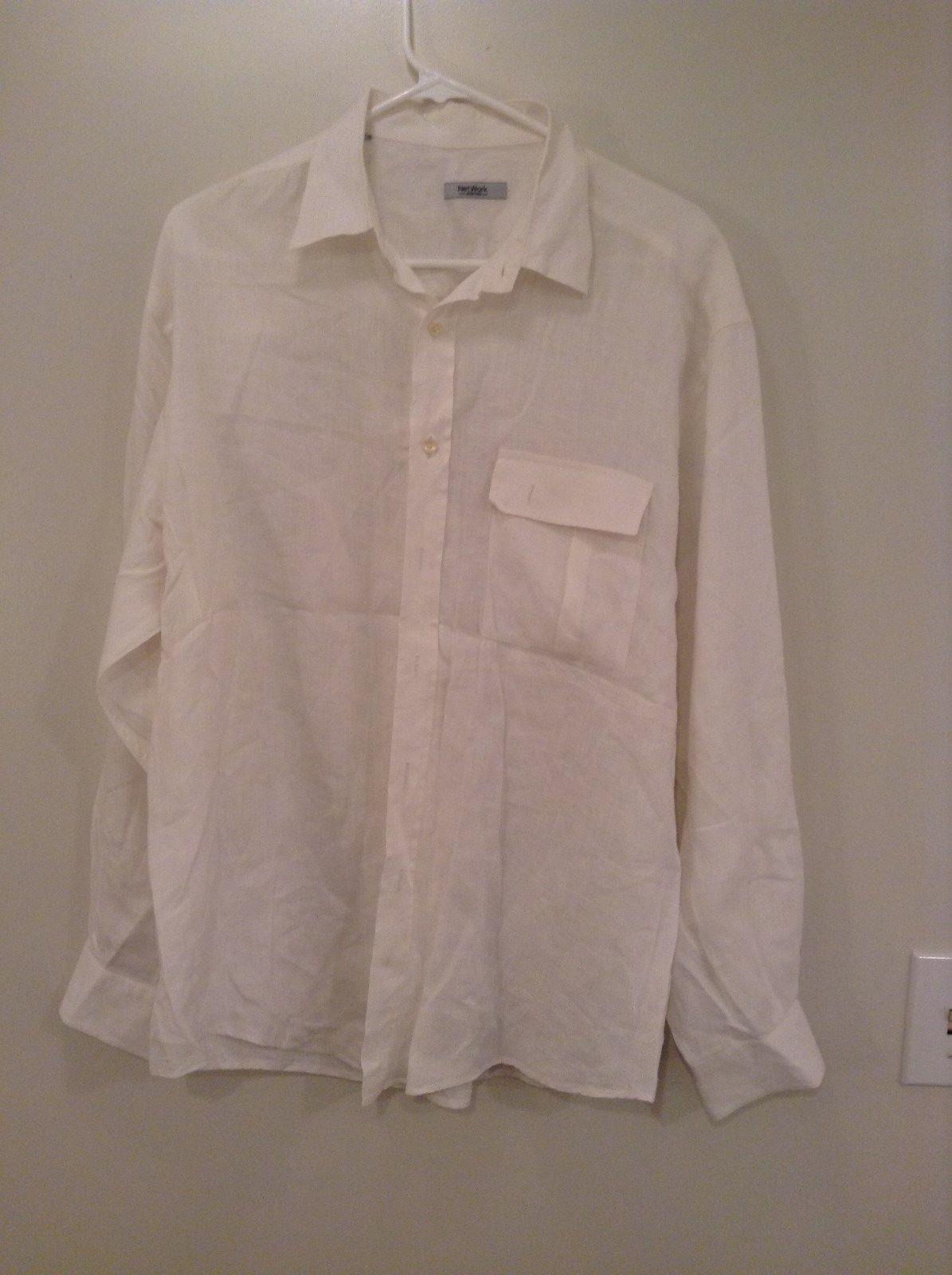 White Button Up Long Sleeve 100 Percent Linen Shirt Network Size 41