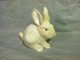White Bunny Rabbit Animal Figurine - recycled rabbit fur