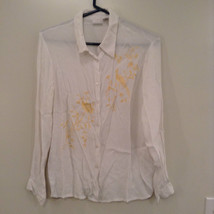 White Button Up Long Sleeve Blouse Gold Pattern Bird Branches Size M Together