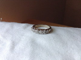 White CZ Stone Gold Plated Band Ring Size 5.75