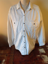 White Button Up Collared Shirt Black Metallic Buttons French Navy Size Medium