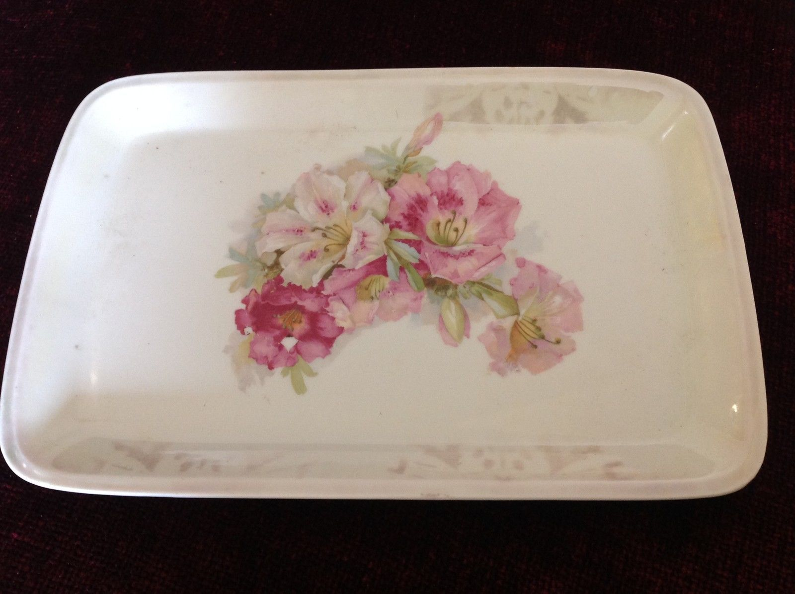 White Ceramic Hand Painted Serving Tray Various Pink Flowers