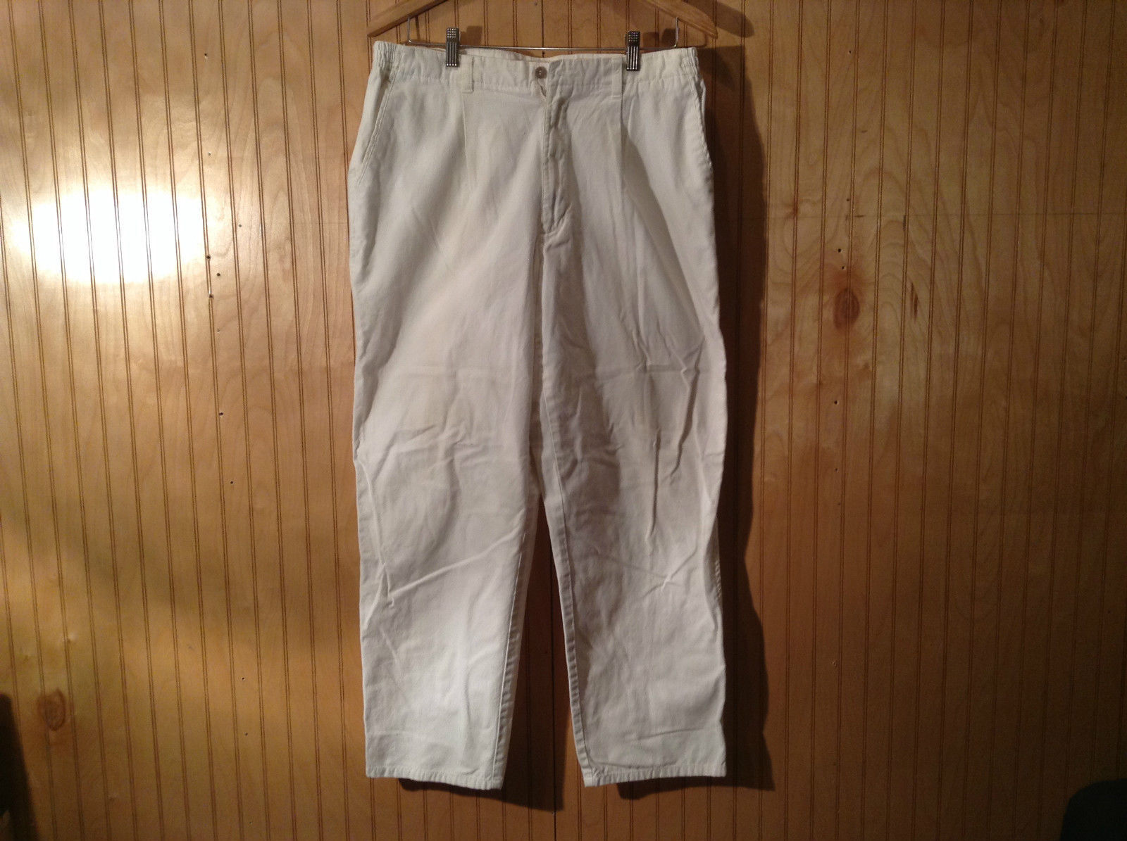 White Dockers Casual Pants Elastic Waist 100 Percent Cotton Size 36 by 30
