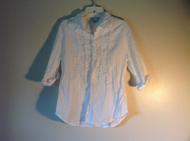 White John Paul Richard Uniform Size Large Button Up Shirt  Collared