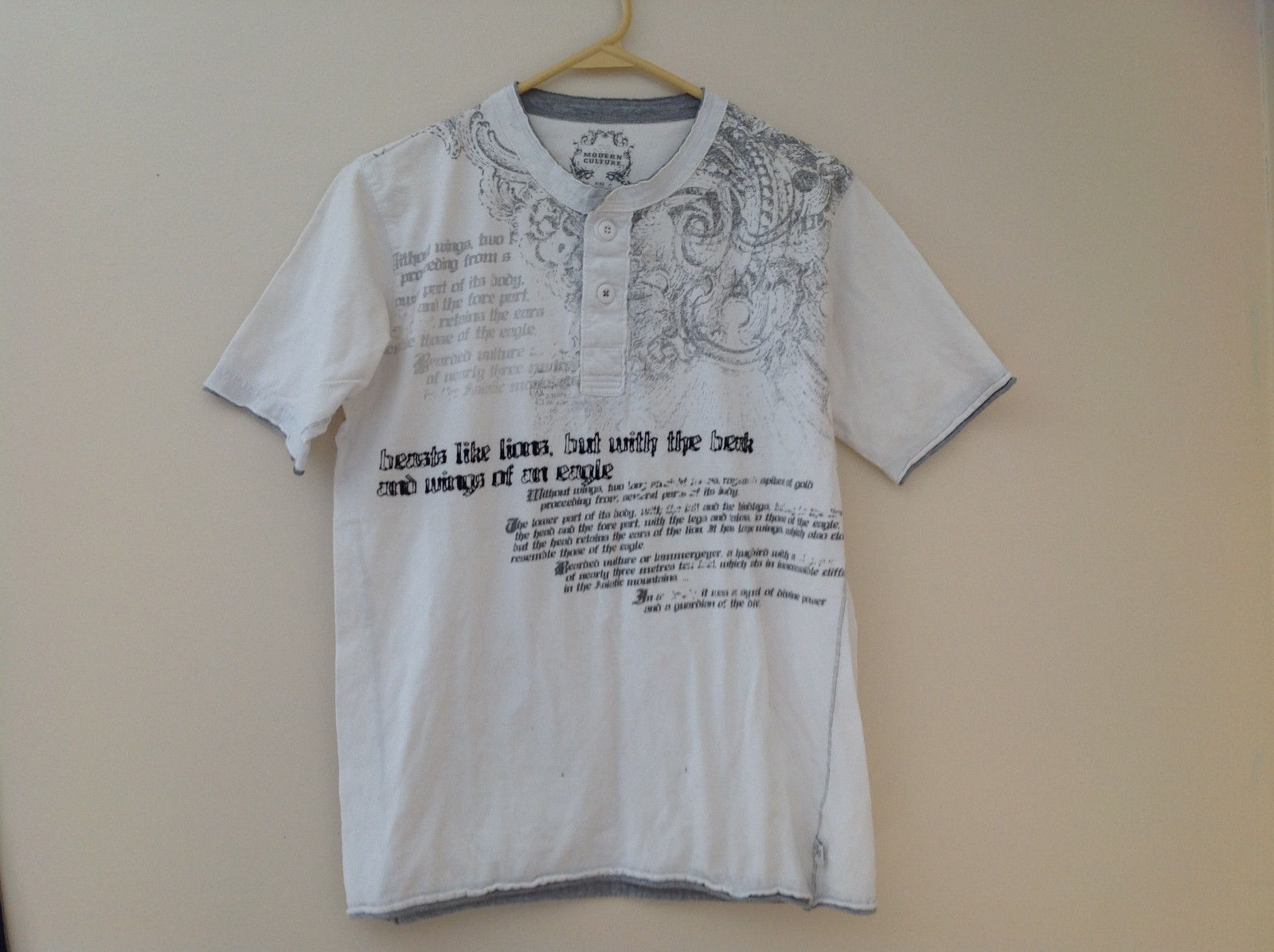 White Gray Letter Design Short Sleeve Shirt Modern Culture Size Medium