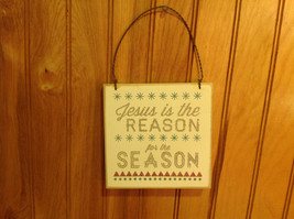 White Hanging Plaque with Jesus is the Reason for the Season by Primitives
