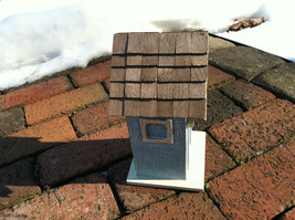 Beach Cottage Birdhouse - Blue w/ Brown Shingled Roof image 2