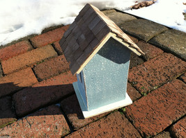 Beach Cottage Birdhouse - Blue w/ Brown Shingled Roof image 3