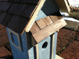 Beach Cottage Birdhouse - Blue w/ Brown Shingled Roof image 6