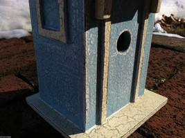 Beach Cottage Birdhouse - Blue w/ Brown Shingled Roof image 7