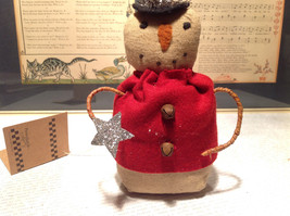 Snowman Doll With Top Hat and Star Beanbag Butt Real Bells Primitives by Kathy image 2