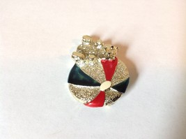Bear w beach  Ball Gold Tone Metal Pin Brooch Hinge Clasp Red Blue Enamel Shiny image 2
