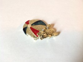 Bear w beach  Ball Gold Tone Metal Pin Brooch Hinge Clasp Red Blue Enamel Shiny image 4
