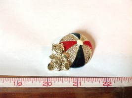 Bear w beach  Ball Gold Tone Metal Pin Brooch Hinge Clasp Red Blue Enamel Shiny image 6