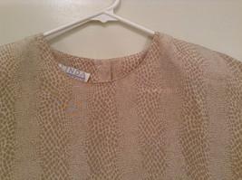 Beige Snake Print Linda Hutton Short Sleeve Blouse 100 Percent Silk Size Large image 3