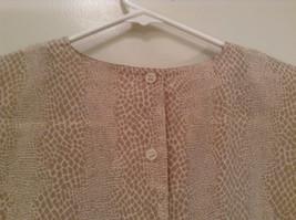 Beige Snake Print Linda Hutton Short Sleeve Blouse 100 Percent Silk Size Large image 6