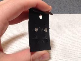Solid Black CZ Stone Silver Tone Stud Earrings image 4