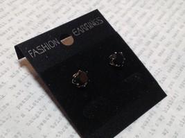 Solid Black CZ Stone Silver Tone Stud Earrings image 2