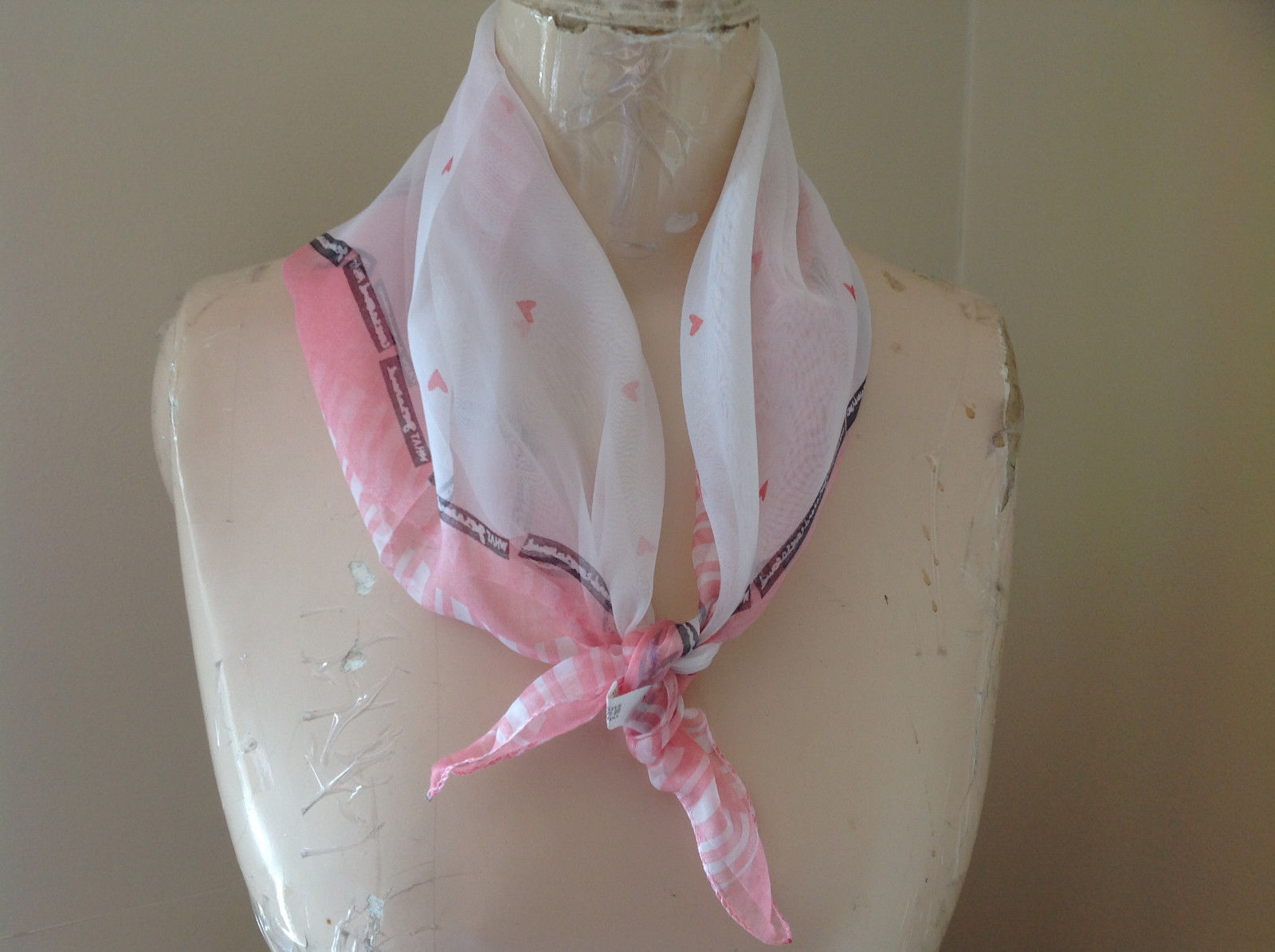 White Light Pink Tiny Hearts Design Square Scarf  Hanfei Light Weight Material