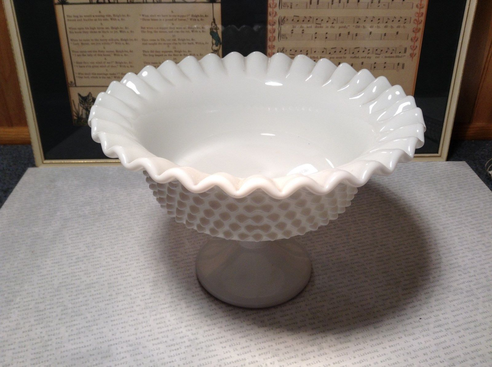 White Milk Glass Vintage Raised Serving Bowl Ruffled Edges Along Top Hobnail