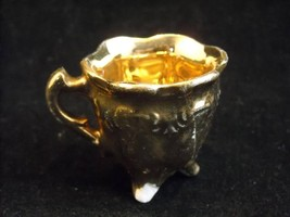 White Miniature Porcelain Pitcher with Feet Vintage Gold Leaf covered - $44.54