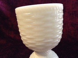 White Milk Glass Egg Cup Woven Basket Look Words Pat D June 30 1874
