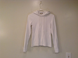 White Long Sleeve Hooded Pullover Top J. Crew 100 Percent Cotton Size Small