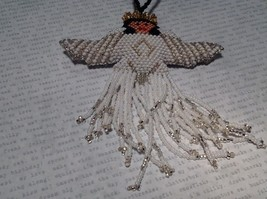 White Metallic Beads Handmade Beaded Angel Ornament Decoration