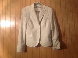 White Lined Blazer Jacket 2 Button Closure 2 Front Pockets Benetton