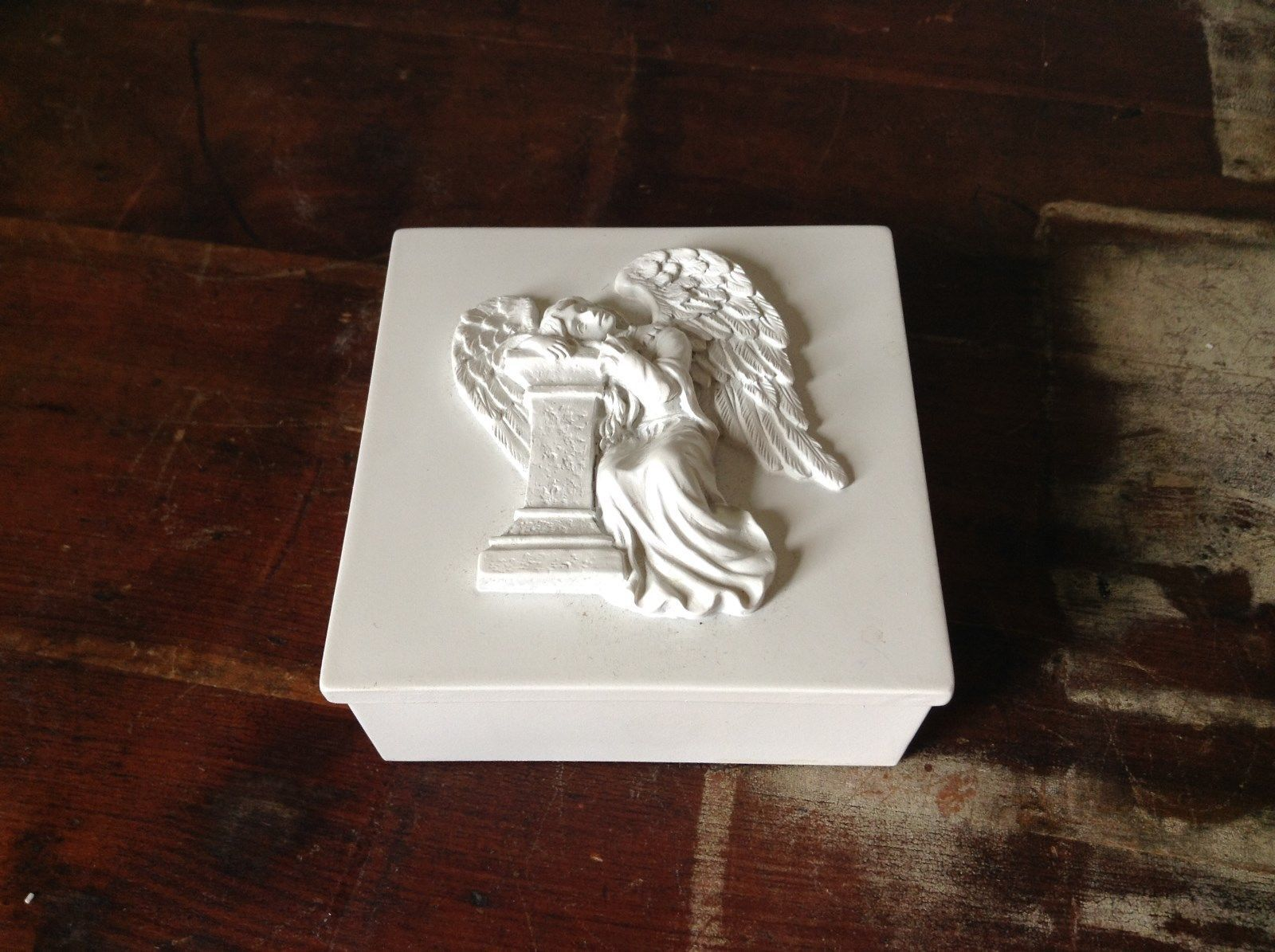White Square Trinket Box with Angel on Lid Resting on Pillar