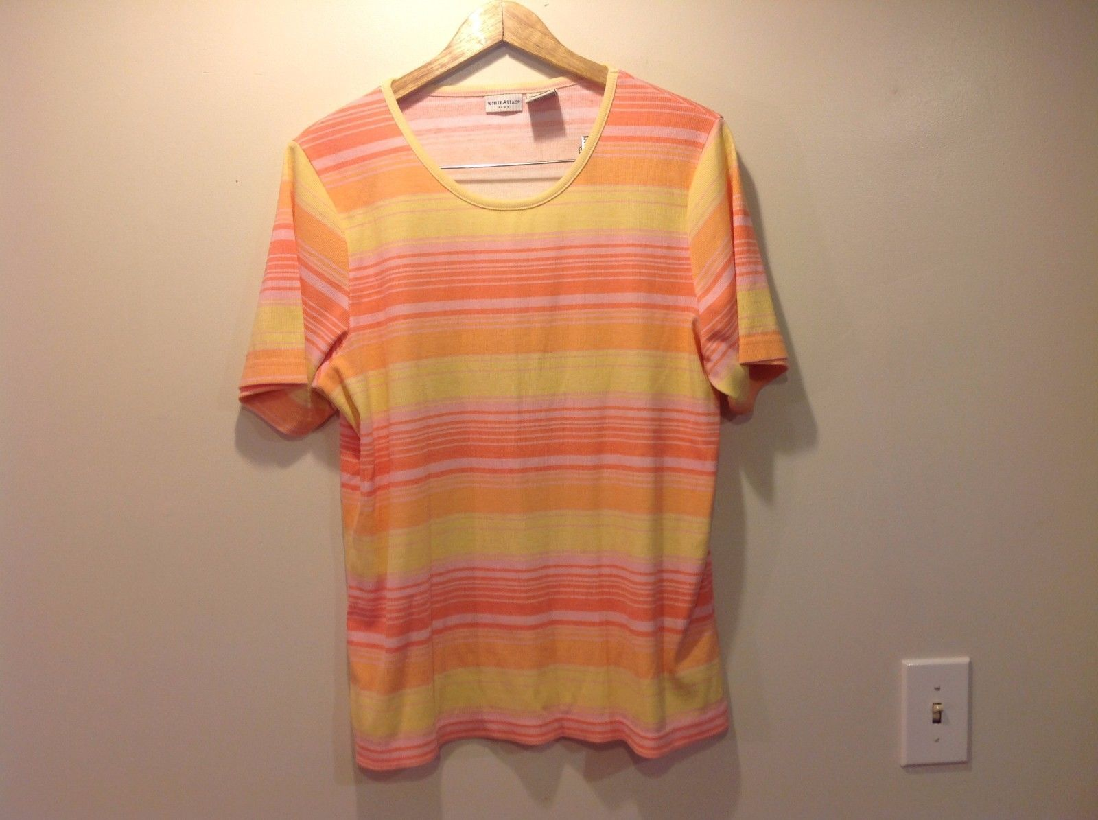 White Stag Plus Women's Shirt Size 18W Pink Yellow Striped