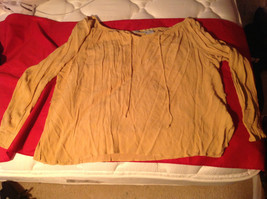 White Stag Womens Mustard Colored Pullover Blouse Tie at Neck Size 18W/20W