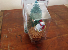 White Wolf with Scarf Real Pine Cone Pet Pine Cone Christmas Ornament