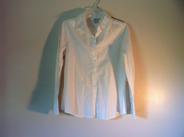 White WD NY Size Medium Long Sleeve Cuffed Button Up Shirt