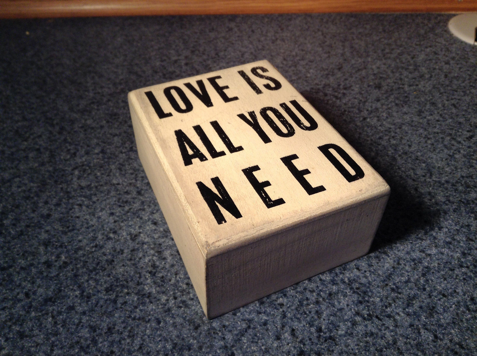 White Wood Box Sign Love is All You Need Vintage Look Primitives by Kathy