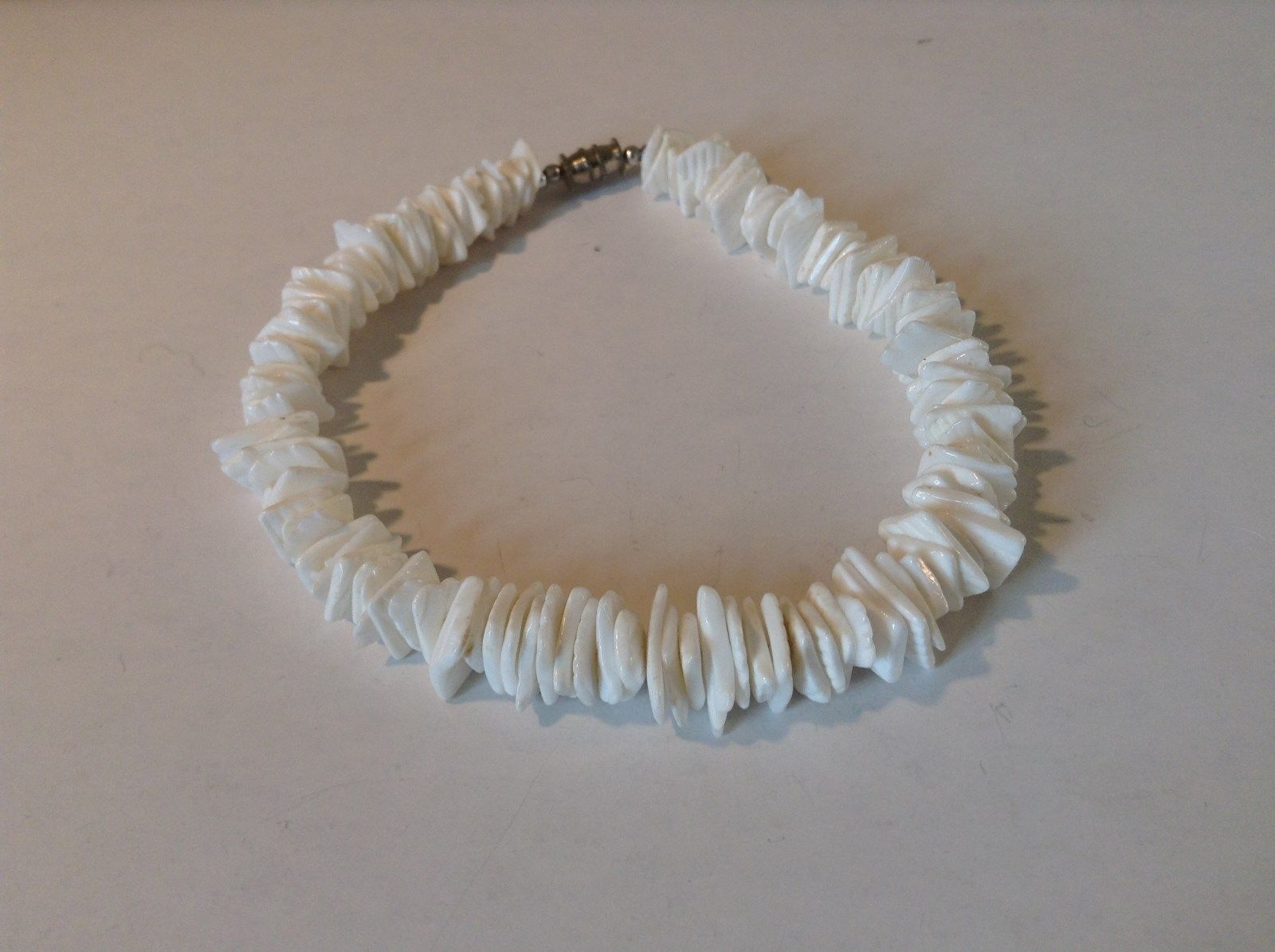 White Stone Shard Anklet Bracelet Screw Clasp Natural